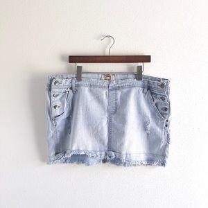lei Light wash soft denim skirt